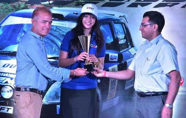 Aishwariya Pissay from CEAT Team wins 1st position in Lady Category at Maruti Suzuki Dakshin Dare Rally 2016