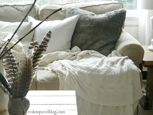 Rustic Neutral Fur Pillow and Feathers, Christmas Home Tour 2015