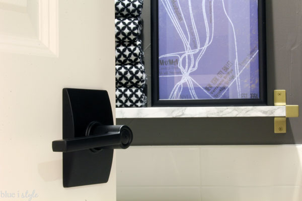 Modern Door Hardware in Powder Room