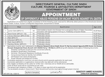 Culture, Tourism & Antiquities Department Sindh Jobs 2019