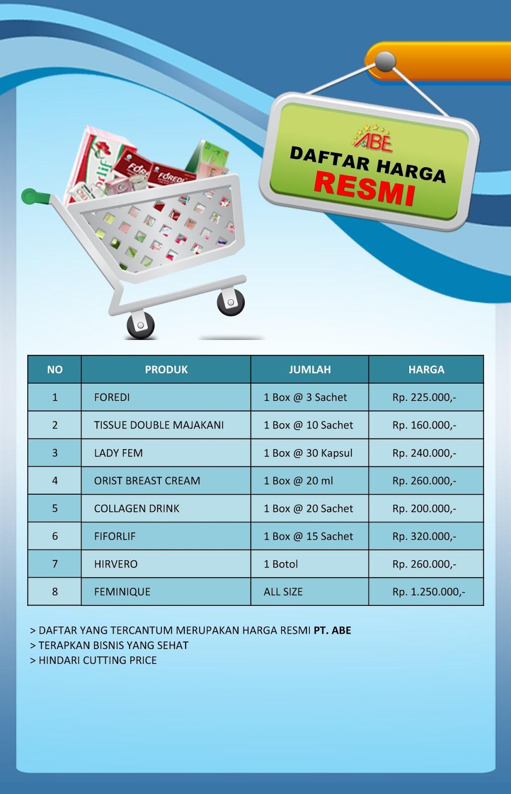 Daftar Harga Lengkap Produk ABE