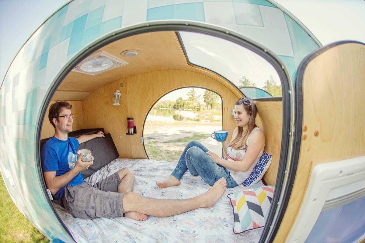 Tiny yellow teardrop june 2016 for Small caravan interior designs