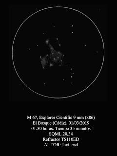 Dibujo realizado del objeto Messier 67 usando un refractor.