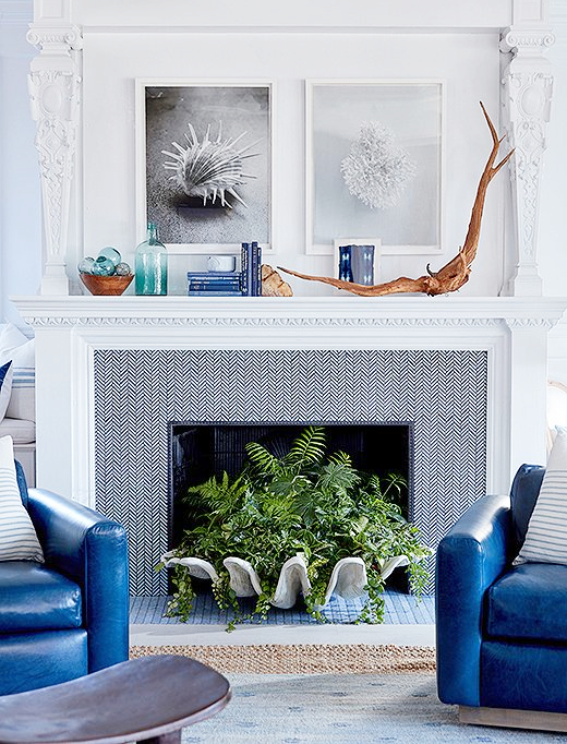 Coastal Fireplace Decor Idea One Kings Lane