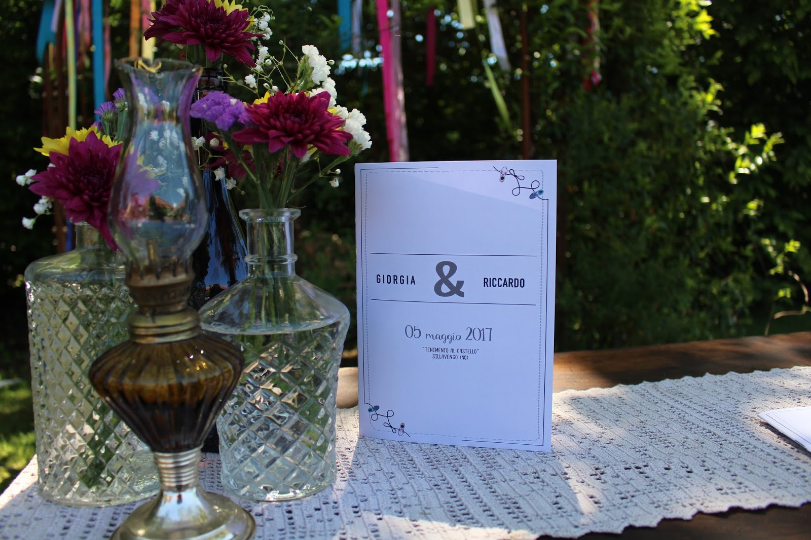 Vasi di vetro allestimento matrimonio