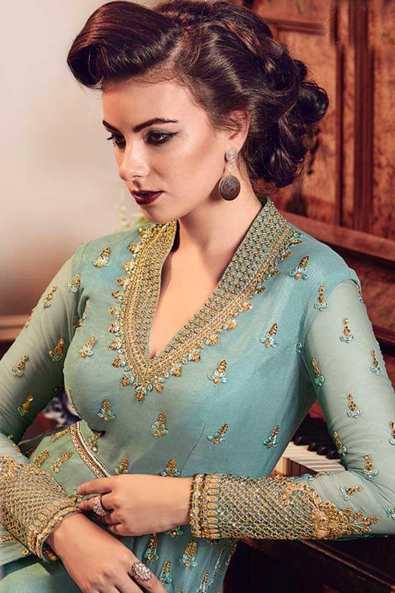 da43328a15 7057 - Wholesale Designer Heavy Embroidery Work Georgette Semistitched Anarkali  Suits Set