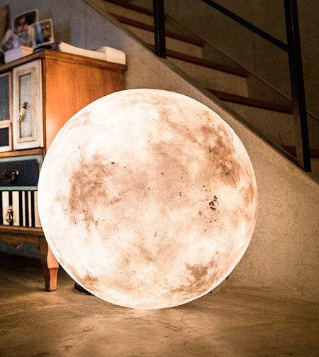 A Charming Lamp Designed To Look Just Like A Moon. Fills Your Bedroom With  Soft Light.