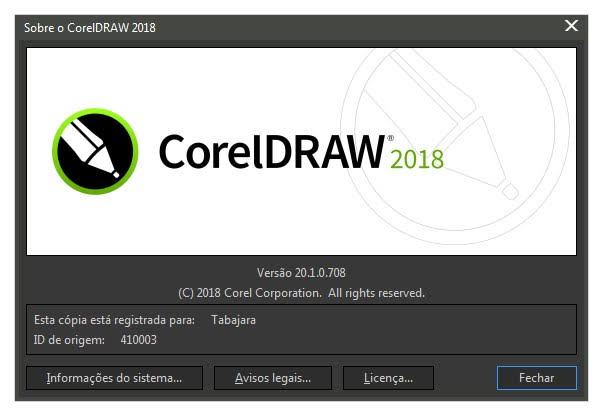 CorelDRAW Graphics Suite 2018 - Versão do Corel