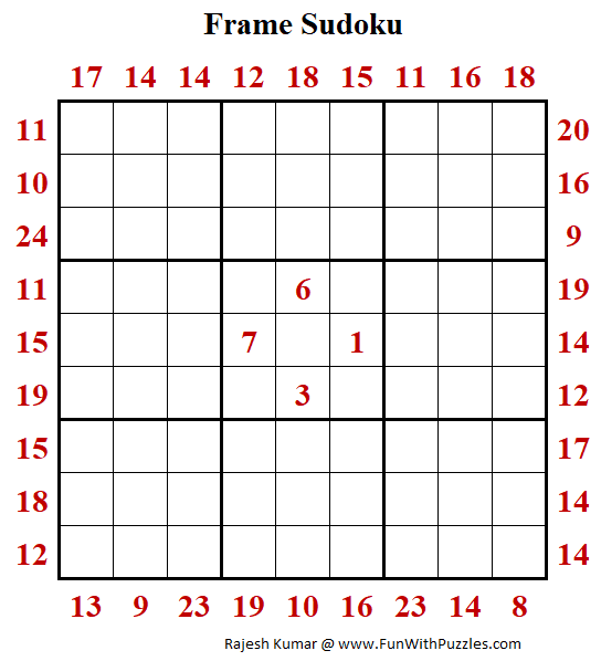 Frame Sudoku Puzzle (Fun With Sudoku Series #268)