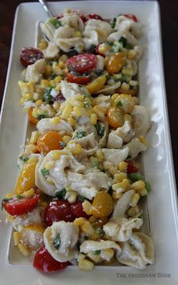 tortellini, corn, tomato, basil,