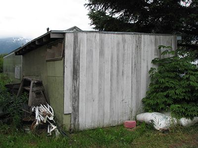 Backside of Brenda Wilbee's 2010 Gold Rush cabin abode, Skagway AK