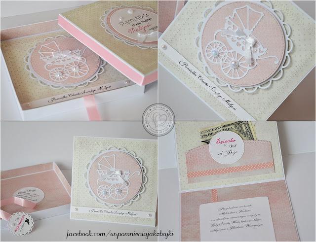 Kartka w pudełku na Chrzest Małgosi