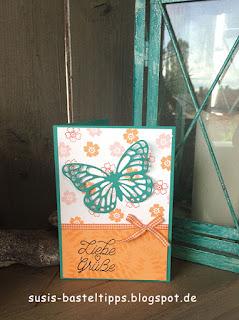 Grußkarte mit Stampin' Up! Stempelset Watercolor Wings und Schmetterlingsgruß in den In Color 2017-19 von Demonstratorin in Coburg (Susis Basteltipps)