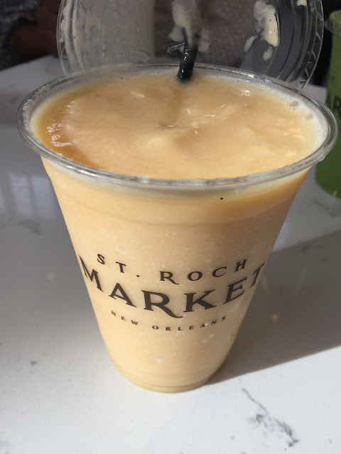 Peaches and Cream vegan smoothie at JuiceNOLA at St. Roch Market in New Orleans