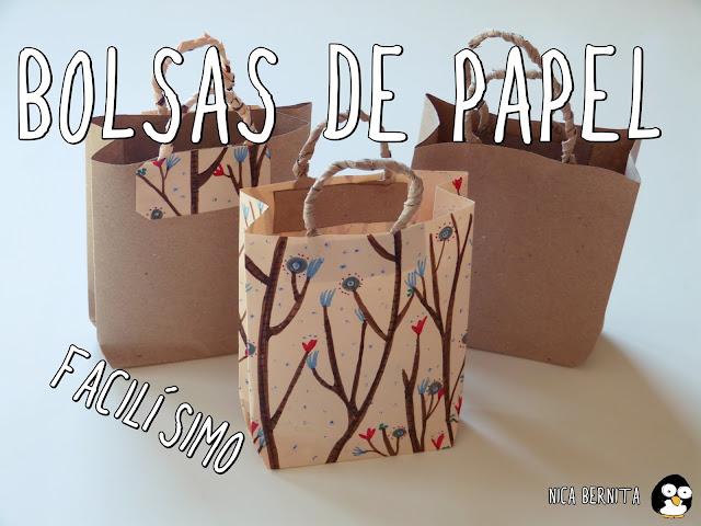 Bolsas de papel hechas a mano. Manualidades fáciles con papel. Nica Bernita