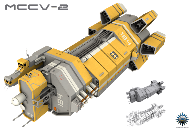 futuristic spaceship ship harvesting orca eve online homeworld redesign scifi concept art original Ezakiya-Boherr Heavy Industries MCCV-2 Ida Lewis Mining Command Control vessel industrial logistics hub vehicle dock excavation drilling station field manufacturing center mining ops asteroid celestial body modular