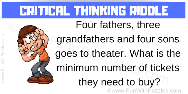 Four fathers, 3 grandfathers and 4 sons goes to theater. What is the minimum number of tickets they need to buy?