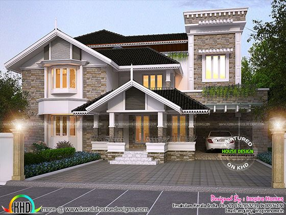 Luxurious Modern Mix Traditional Home And Plan Kerala