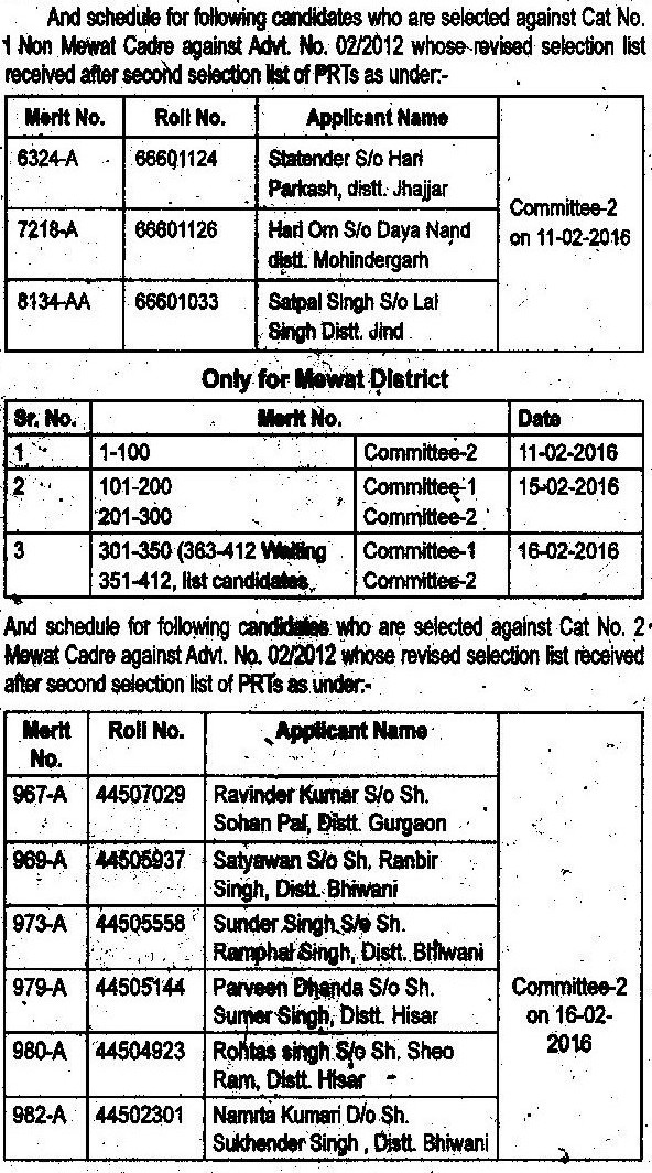 image : Haryana Verification Schedule 2016 - JBT (2nd List) Advt. No. 2/2012 & Cat. No. 1&2 @ TeachMatters
