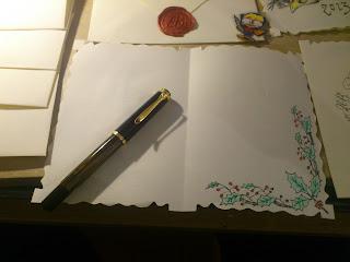 como hacer tus propias felicitaciones navideñas, tarjetas postales navideñas. diy tarjetas navideñas, como felicitar las navidades de forma personalizada, personal, chistmas card diy, les chistmas, como hacer tarjetas navideñas baratas, caligrafia, calligraphy card homemade calligraphy, paker fountainpen pelikan m400 tourtoise, caligrafia copperplate, feliticacion navideña personalizadas con plumas