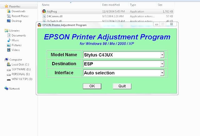Resetter Epson Stylus C43UX