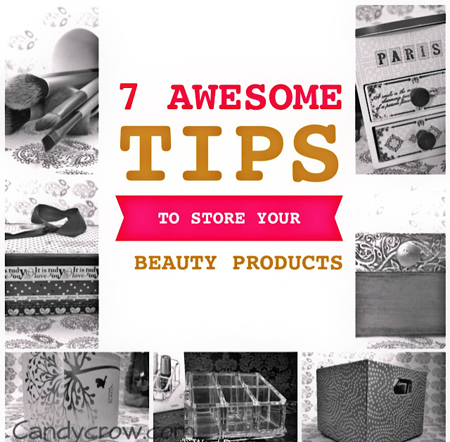 hoe to store beauty products, ideas to organise
