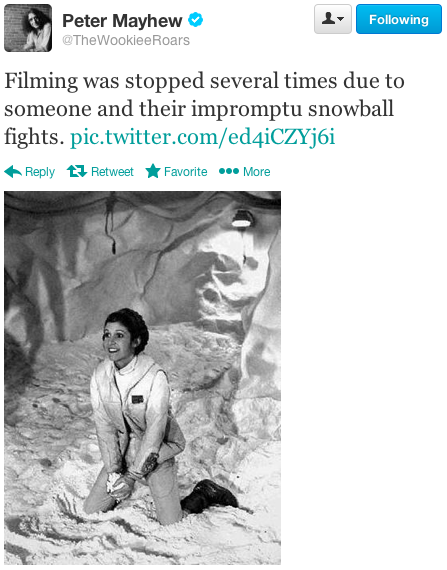 Carrie Fisher has snowball fight during filming of Star Wars Empire Strikes Back