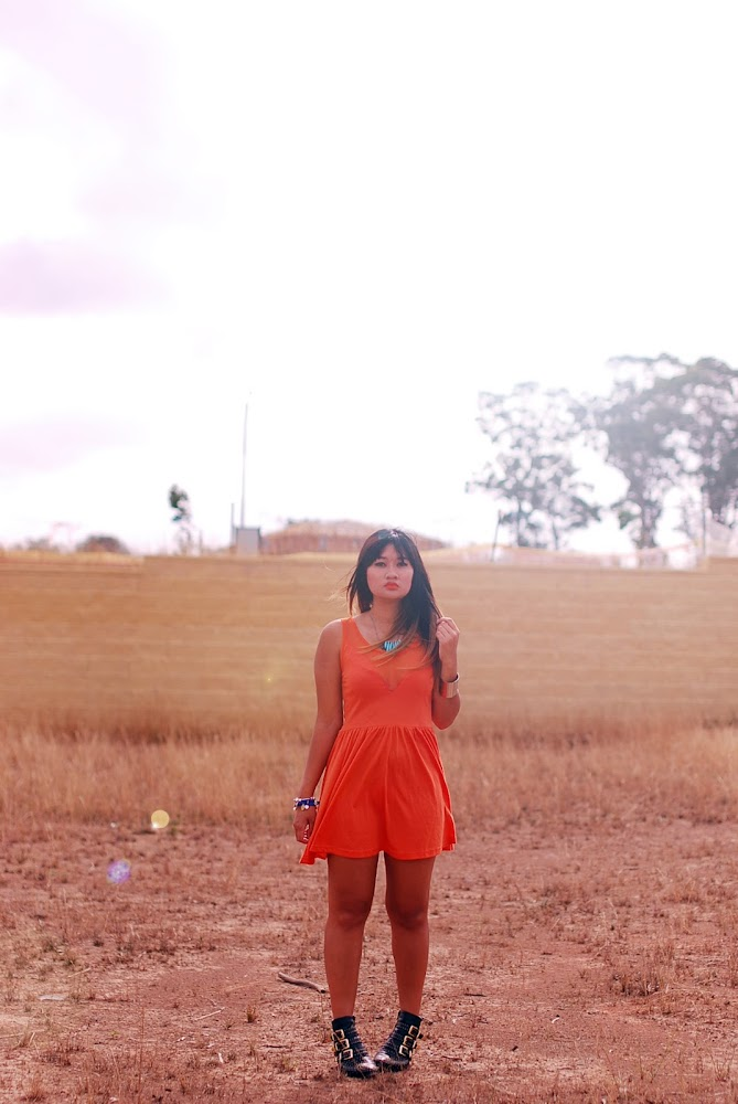 Orange Dress Desert Steve Madden Madhouse boots