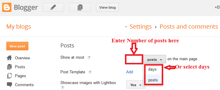 blogger post setting screen image