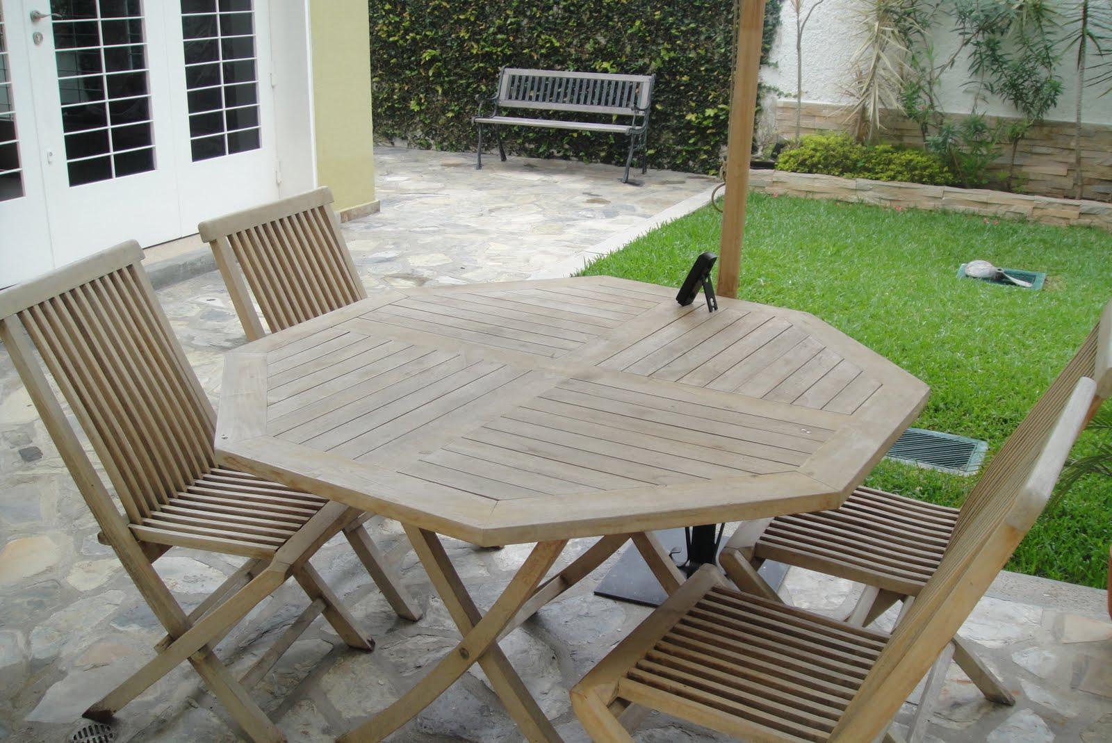 Venta de garage juego de jardin con toldos y sillas de - Sillas madera jardin ...