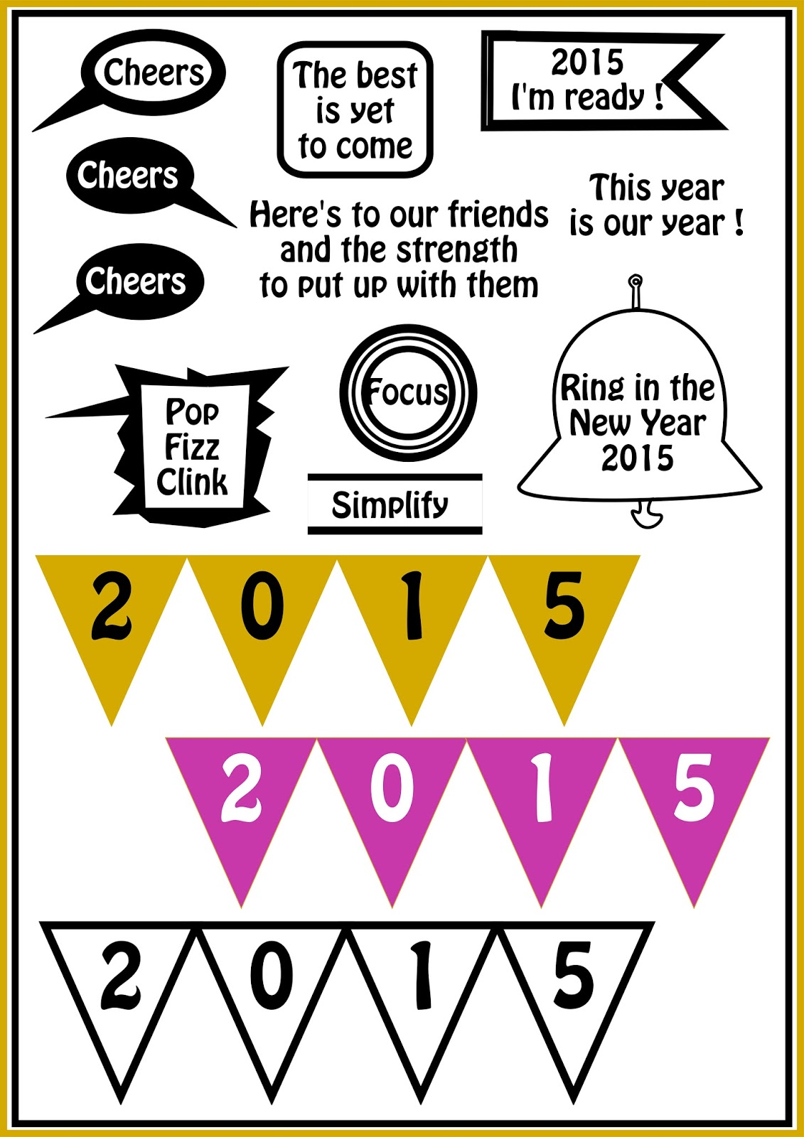 Free Printable New Year S Stickers And Buntings