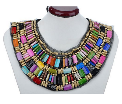 bohemian necklace under $15. Big colorful bohemian bib necklace.