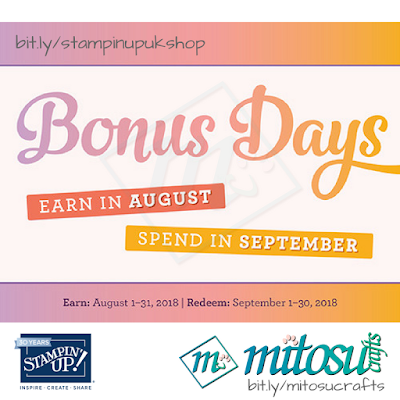 Stampin' Up! Bonus Days Promotion. Order craft products from Mitosu Crafts UK Online Shop
