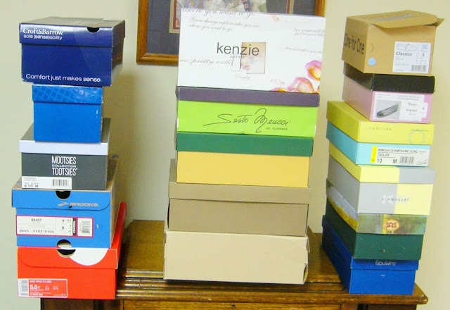 Collecting empty shoeboxes for Operation Christmas Child packing.
