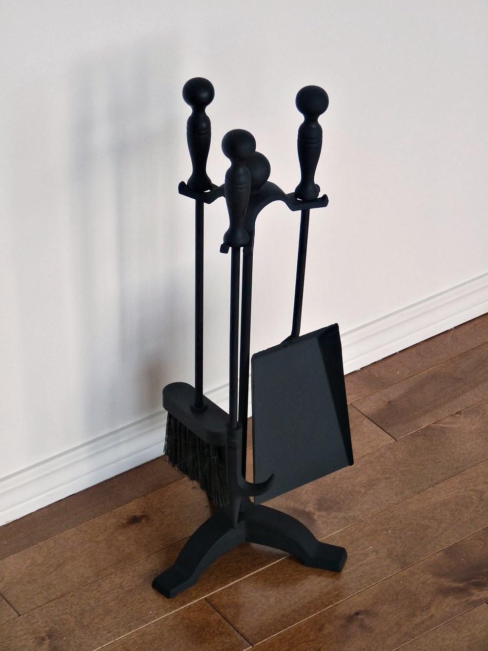 Matte black fireplace tools DIY