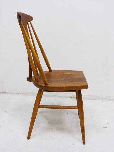 Heywood Wakefield Dowel High Back Mid-Century Doeskin Dining Chairs Side Profile