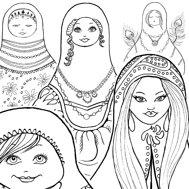 matryoshka doll russian doll coloring book pages