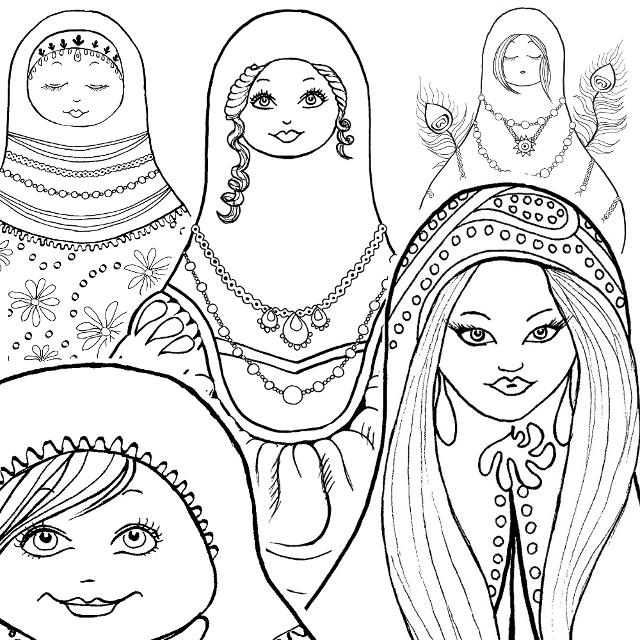 Matryoshka Doll Coloring Book + Coloring Page Freebie!