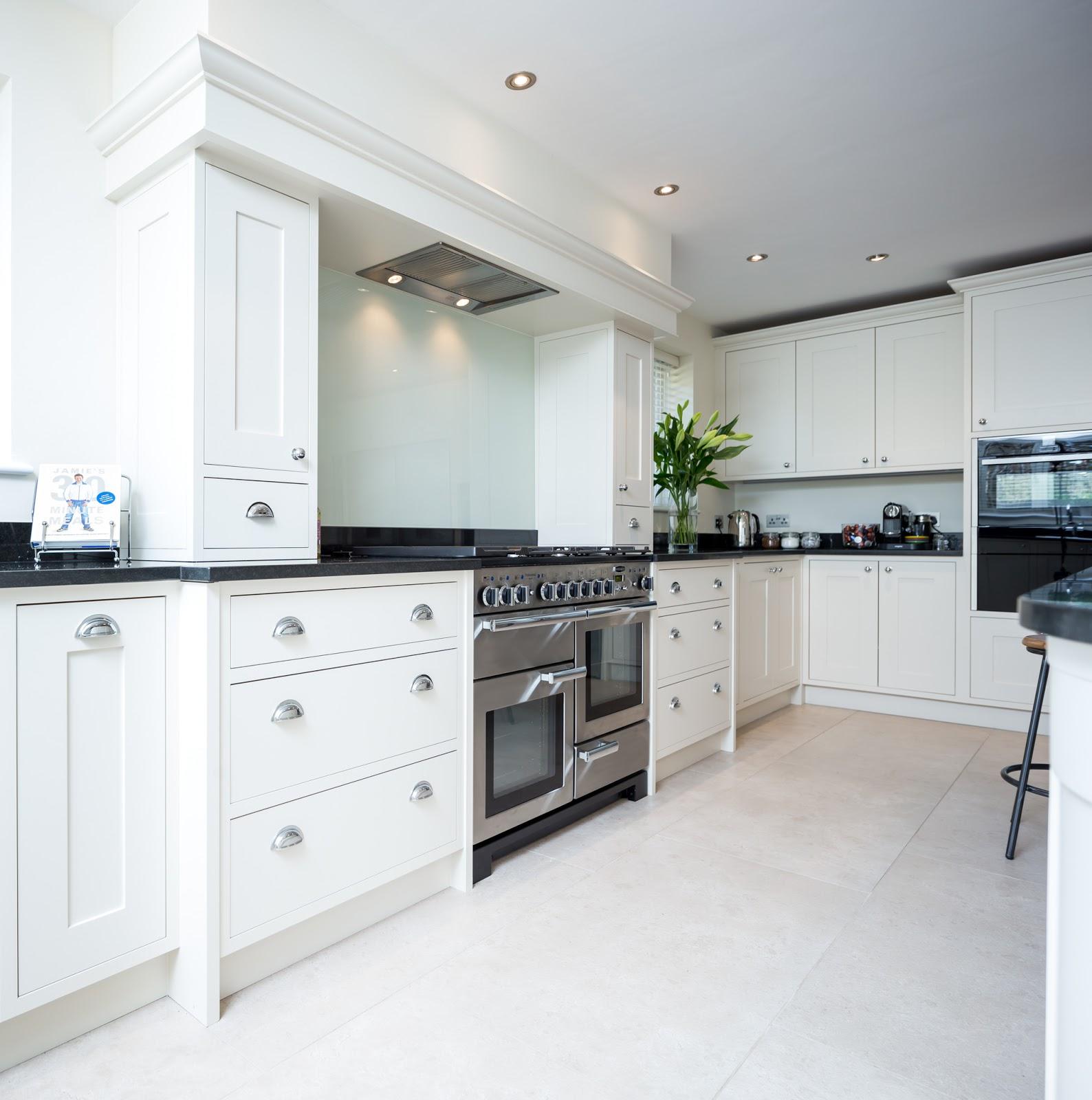 Maple gray cream black shaker kitchen for Cream and grey kitchen