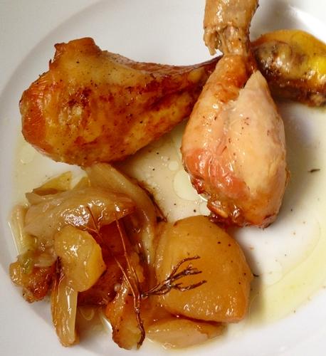 Muslitos de pollo con peras