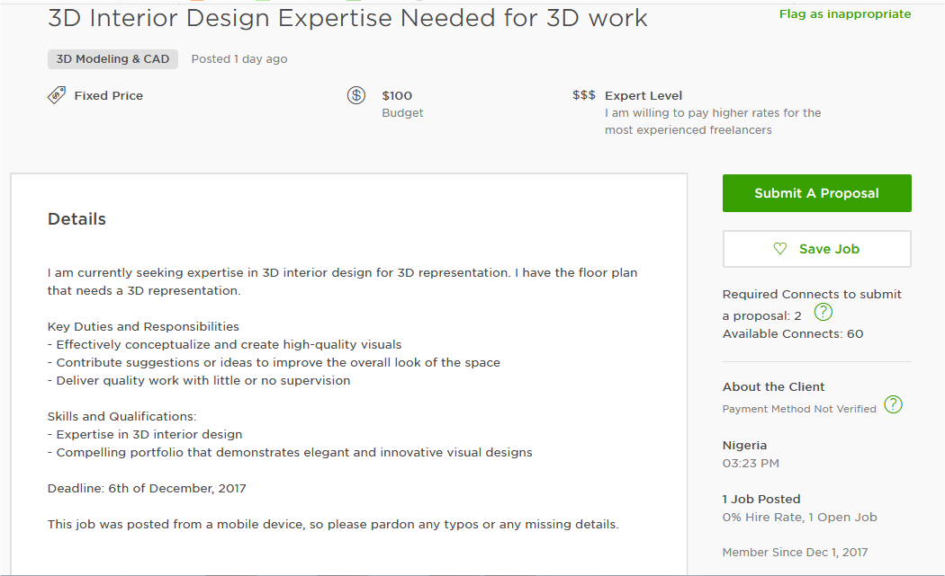 Cover Letter Sample for 3D Modeling, Design and CAD - Upwork ...