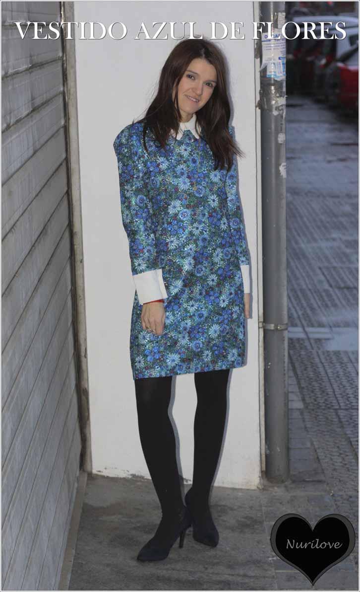 vestido azul de flores bordadas, una joya