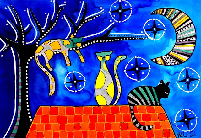 Night Shift - Cat Art by Dora Hathazi Mendes