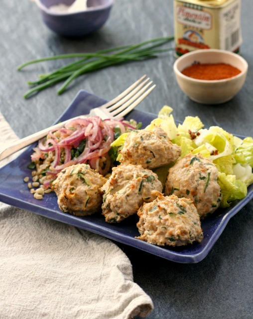 Gluten free turkey meatballs, mixed with zucchini, new chives from the garden and a good amount of lemon. They're a fresh-tasting main dish that feels light after a long winter of heavy meals.