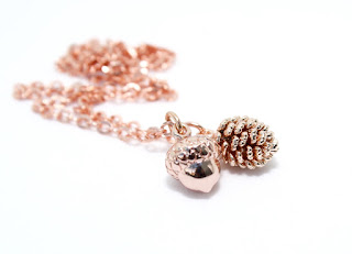 Accessory, Autumn Time : Pine Cones and Acorns and Rose Gold Jewellery