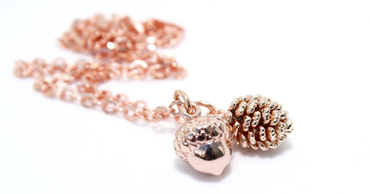 Autumn Time : Pine Cones and Acorns and Rose Gold Jewellery