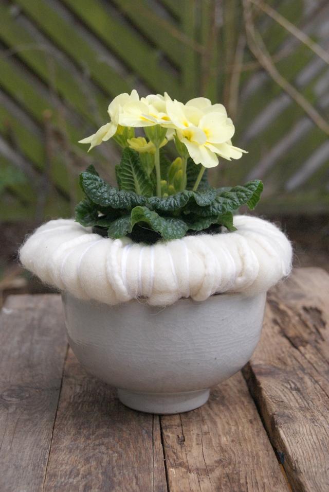 DIY - gelbe Primel in weißer Wollmanschette auf Filzwolle
