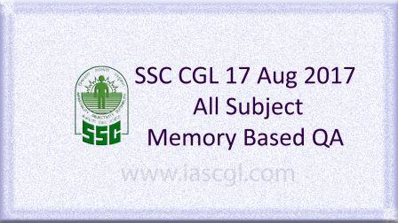 SSC CGLE 17 Aug 2017 All Subject, QA