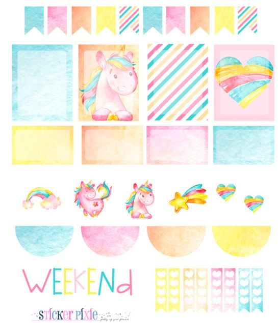 graphic about Free Printable Unicorn named Totally free Printable Unicorn Planner Stickers. - Oh My Fiesta! in just