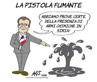 macron, siria, trump, may, gas, armi chimiche, petrolio, vignetta, satira
